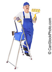 house painter with ladder on white