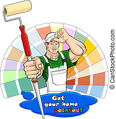 Illustration of a smiling house painter with paint roller. Below him there is a paint stain with text: you can clear it and write your one. Color guide on the background.