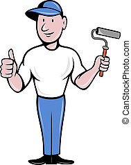 House painter with paint roller thumbs up