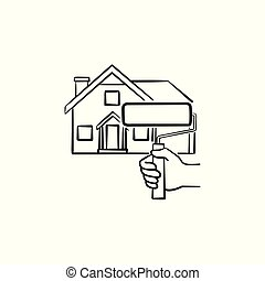 House painting hand drawn sketch icon.