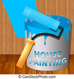 House Painting Showing Home Painter 3d Illustration