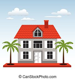 House, palms and clouds on a blue sky background