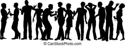 House party - Editable vector silhouettes of men and women...