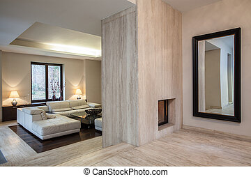 house:, pasillo, travertine
