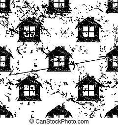 House pattern grunge, monochrome