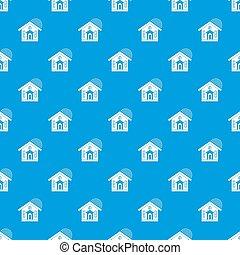 House pattern seamless blue