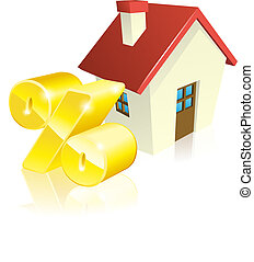 House percentage mortgage concept of house and gold percent...