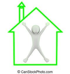 house!, persone, -, piccolo, mio, 3d