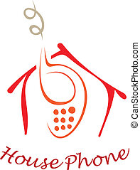 The stylized image of a orange cell phone under red roof of the house. Vector design element, color illustration.
