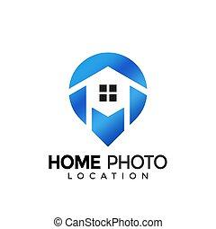House Photo Location Colorful Modern Logo Icon Design Vector Illustration