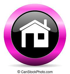 house pink glossy icon - web glossy pushbutton