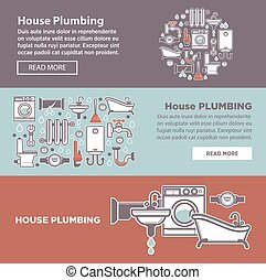 House plambing internet page vector illustration of three poster