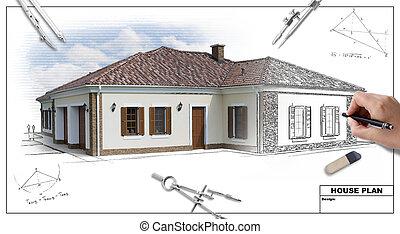 House plan 2 - House plan blueprints 2, designer's hand