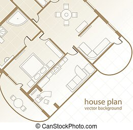 House Plan. Architectural background. Vector illustration
