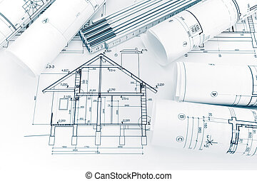 house plan blueprint and folding ruler on architects workplace