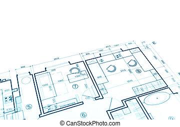 house plan blueprint, construction plan, part of architectural project