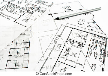 House plan blueprints with pencil