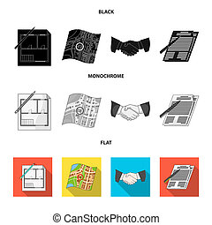 House plan, documents for signing, handshake, terrain plan. Realtor set collection icons in black, flat, monochrome style bitmap symbol stock illustration web.