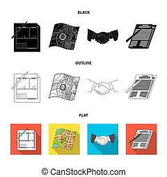 House plan, documents for signing, handshake, terrain plan. Realtor set collection icons in black, flat, outline style bitmap symbol stock illustration web.