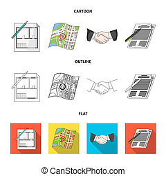 House plan, documents for signing, handshake, terrain plan. Realtor set collection icons in cartoon, outline, flat style bitmap symbol stock illustration web.