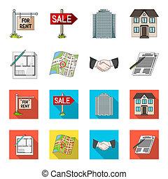 House plan, documents for signing, handshake, terrain plan. Realtor set collection icons in cartoon, flat style bitmap, raster symbol stock illustration web.