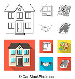 House plan, documents for signing, handshake, terrain plan. Realtor set collection icons in outline, flat style symbol stock illustration web.