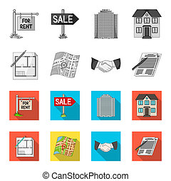 House plan, documents for signing, handshake, terrain plan. Realtor set collection icons in monochrome, flat style bitmap symbol stock illustration web.