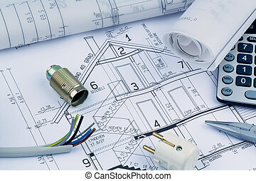 house plan. electrical - architect's blueprint for the...