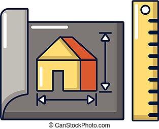 House plan icon, cartoon style