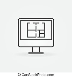 House plan on display icon