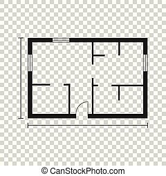 House plan simple flat icon. Vector illustration on isolated background.