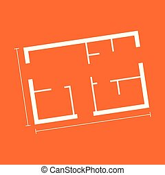 House plan simple flat icon. Vector illustration on orange background.
