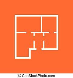 House plan simple flat icon. Vector illustration on orange background.