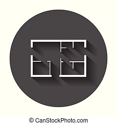 House plan simple flat icon. Vector illustration with long shadow.