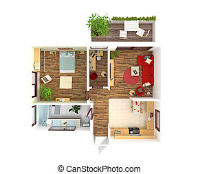 House plan top view - interior design - Plan view of an...