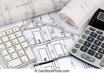 house plan with calculator - an architect's blueprint with a...