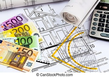house plan with calculator - a blueprint of an architect...