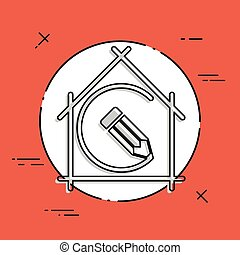 House planning - project design - Vector flat icon