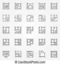 House plans icon set
