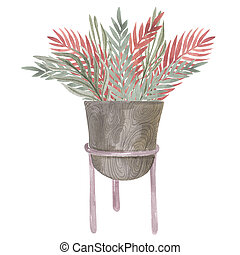 House plant in a pot on a stand Boho home decor