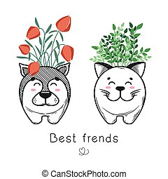 House plant in a pot with a muzzle of the animal. Cute muzzle on the pot. Cat and dog are best friends