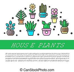 House plants in flower pots vector decoration flat line ...