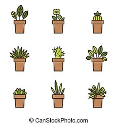 House plants in flowerpots. Set of flat line icons