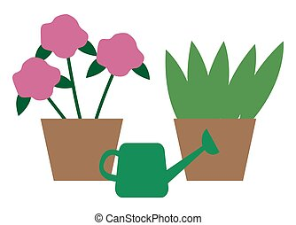 House Plants in Pots, Watering Can. Vector Flowers