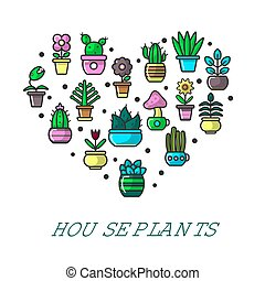 House plants promo poster with potted flowers in heart...