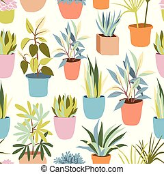 House plants seamless pattern