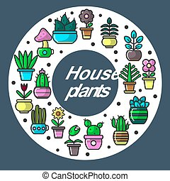 House plants set in circular position on poster