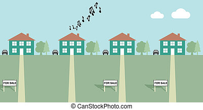 neighbours - House playing load music with neighbours for...