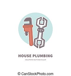 House plumbing advertisement banner with tools for work with pipes