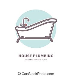House plumbing commercial logotype with capacious ceramic...